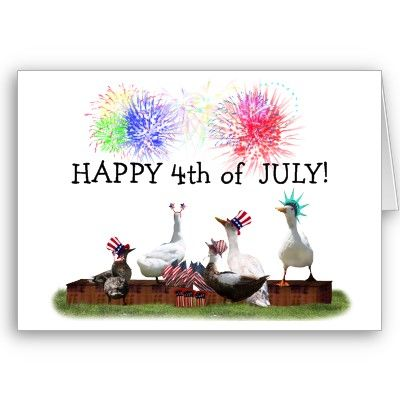 Ducky Celebration for the 4th of July Greeting Card - SOLD 6-10-12 Shipping to Keyport, NJ - #4thofjuly #independenceDay #zazzle #ducks #geese #ID4 #redwhiteandblue