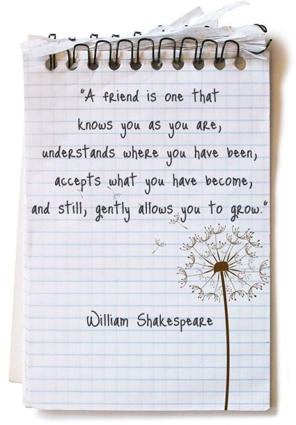 """A friend is one who knows you as you are, understands where you have been, accepts what you have become, and still, gently allows you to grow."" Love the sentiment & image. But it's not by THE William Shakespeare."