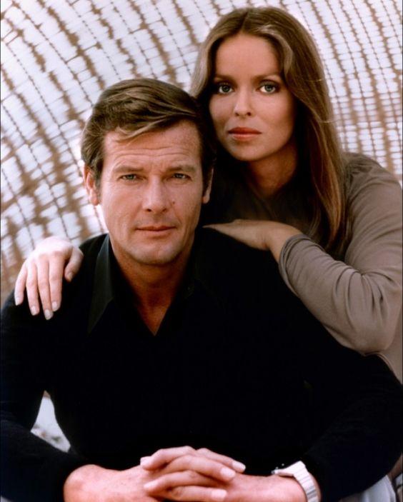 Roger Moore as James Bond and Barbara Bach.