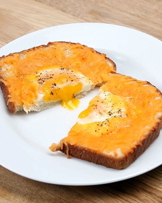 Cheesy eggs, Egg toast and Toast on Pinterest