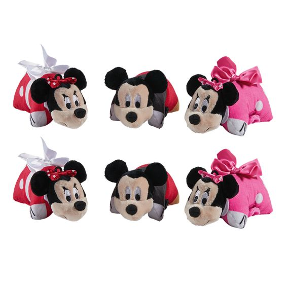 Mickey And Minnie 6 Pack 5 Mini Pillow Pet Party Pack With Images Animal Pillows Disney Pillow Pets Minnie