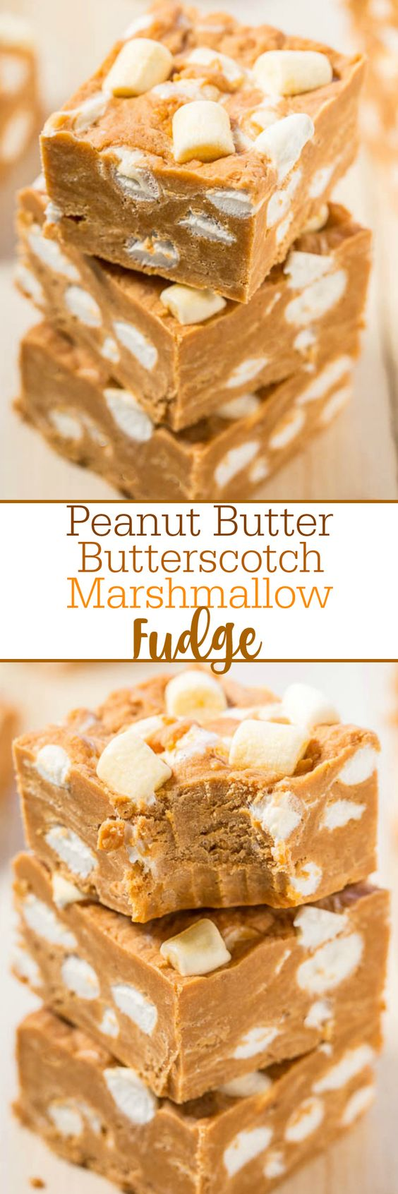 Peanut Butter Butterscotch Marshmallow Fudge - Easy, no-bake fudge with bold peanut butter flavor!! Peanut butter lovers will go nuts! The marshmallows are like biting into soft clouds amidst dense, rich fudge!!