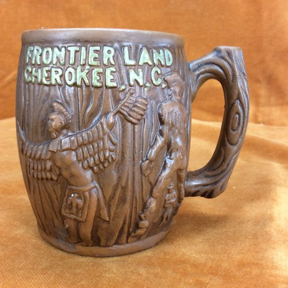 Vintage Souvenir mug from Frontier Land Cherokee NC by TollBranchFarm on Etsy https://www.etsy.com/listing/224287955/vintage-souvenir-mug-from-frontier-land
