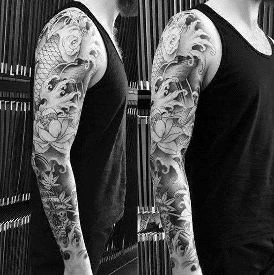 Grey Flowers Japanese Sleeve Tattoo For Guys Full Sleeve Tattoos Tattoo Sleeve Men Koi Tattoo Sleeve