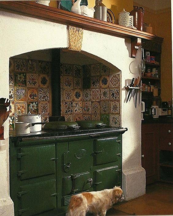 Green AGA and tiles.