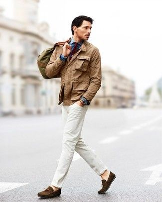 Men's Khaki Field Jacket, Blue Denim Shirt, White Jeans, Dark Brown Suede Driving Shoes