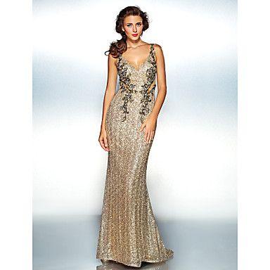 Sheath/Column V-neck Floor-length Sequined Evening Dress - USD $ 109.99