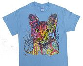 Technocolor Kitty Cat T-shirt by Animal T-shirt Shop Sizes Small thru 6X-Large