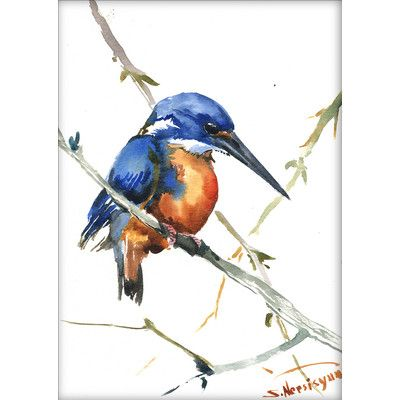East Urban Home Azure Kingfisher 3 by Suren Nersisyan Painting Print