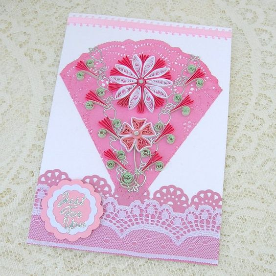 Paper Quilled Greeting Card Paper Quilling Pink Doily Fan Flower Birthday Congratulations Handmade by Enchanted Quilling