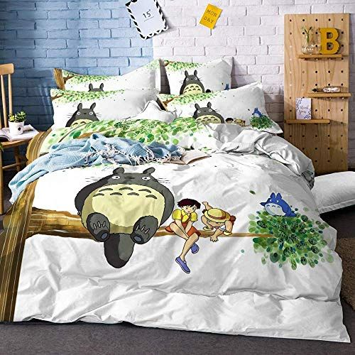 Realin My Neighbor Totoro Duvet Cover Set Cartoon Totoro Print Microfiber Bedding Include Quilt Cover Sheet Pil Duvet Cover Sets Bedding Set Microfiber Bedding