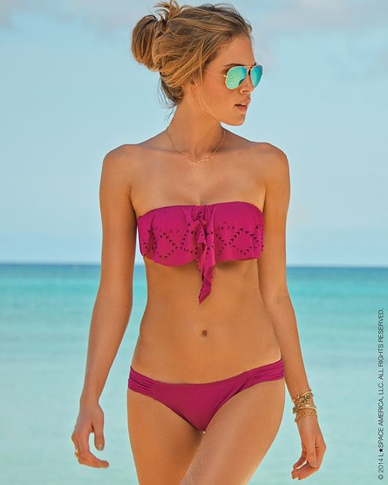 L*Space // Flutter Bye Hunter Rose Bandeau Bikini Top in Berry