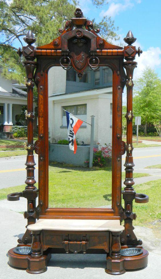 ~ Monumental Walnut Victorian Renaissance Hall Tree Umbrella Stand w/ Carved Crest ~ ebay.com