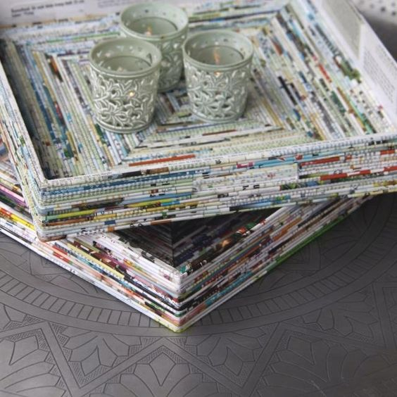 Trays made from rolled recycled magazine pages my next for Rolled magazine paper crafts