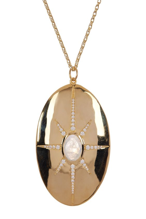 18K Gold Plated Sterling Silver Oval North Star Pendant Necklace