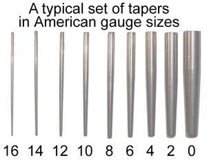 taper gauge sizes - I wouldn't go any bigger than like 4...?