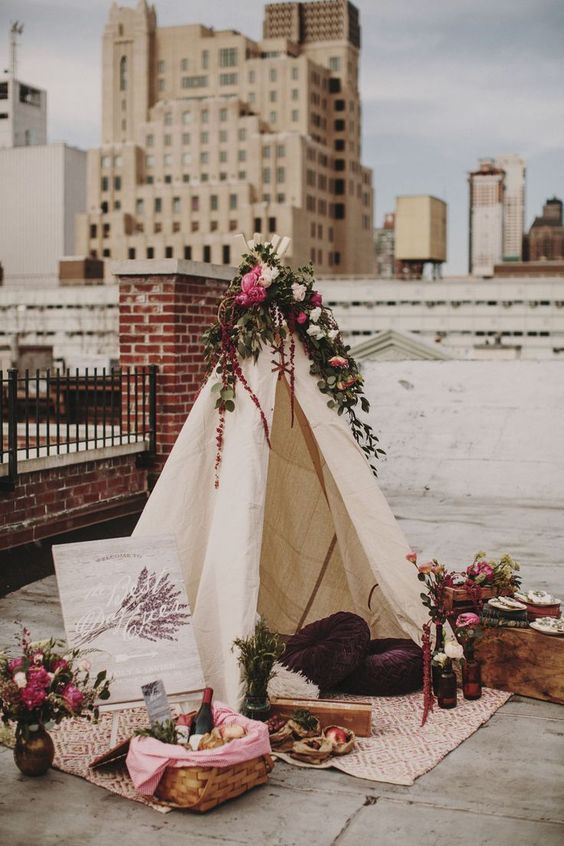 boho wedding picnic area on New York City rooftop