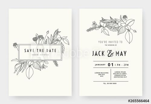 Minimalist Wedding Invitation Card Template Design Floral Black Line Art In In 2021 Minimalist Wedding Invitations Wedding Invitation Card Template Minimalist Wedding