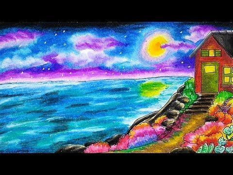 Cara Menggambar Dan Mewarnai Tema Pemandangan Laut Pantai