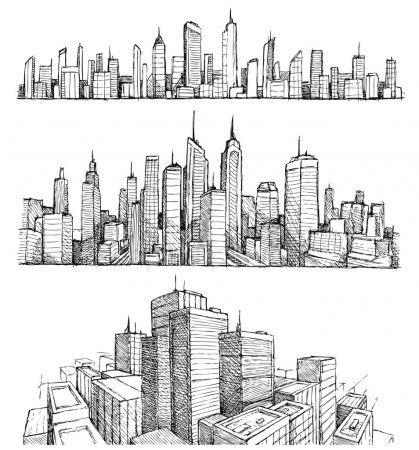 Edificios y paisajes urbanos de gran ciudad dibujado a mano Ilustraciones De Stock Sin Royalties Gratis