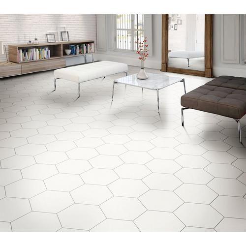 Opal White Hexagon Porcelain Tile In 2020 White Tile Floor Hexagon Tile Kitchen Floor White Tile Kitchen Floor