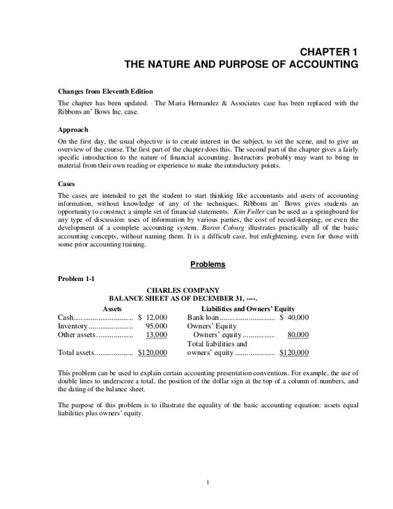 1 CHAPTER 1 THE NATURE AND PURPOSE OF ACCOUNTING Changes from Eleventh Edition The chapter has been updated. The Maria Her...