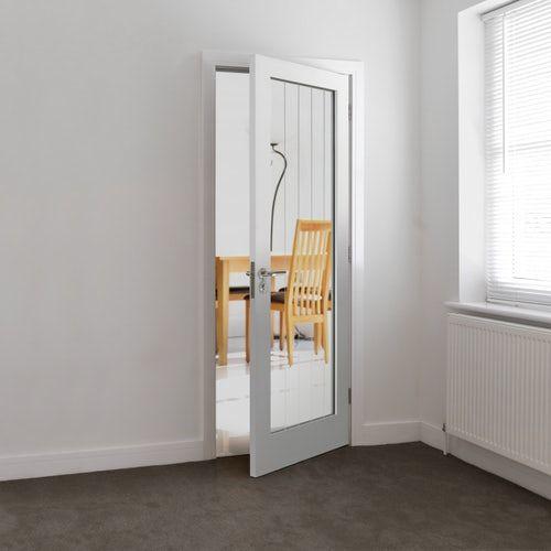 Jb Kind Internal White Primed Cottage Moulded 1 Light Clear Glazed Door White Internal Doors Internal Doors Tall Cabinet Storage