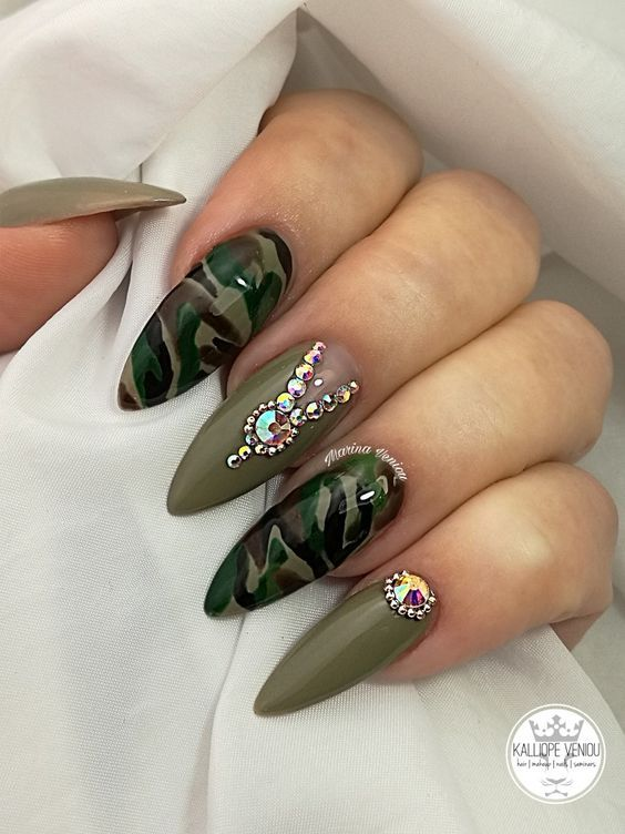 38 Trendy Army Green Nail Designs Camouflage Nails Green Nail Designs Green Nails