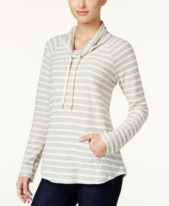 Style & Co. Petite Striped Cowl-Neck Top, Only at Macy's