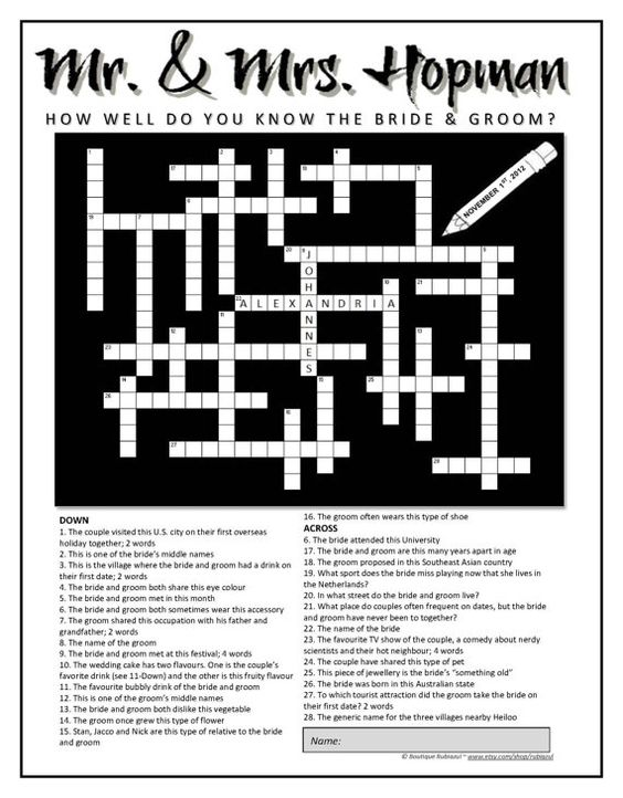 Crossword clue dating preference