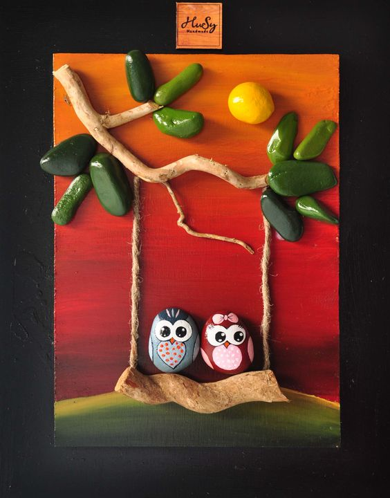 ❤~Piedras  Pintadas~❤ Buhos y Árbol - Owls & Tree:  Driftwood and Pebble Art - Michela Bufalini