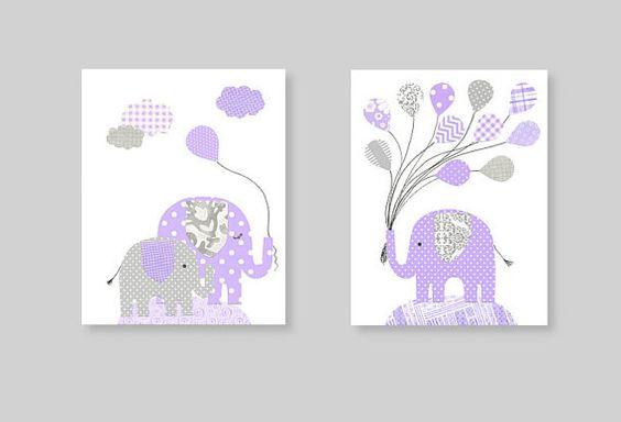 Purple and Gray Elephant Nursery Art Girl's by SweetPeaNurseryArt, $28.00