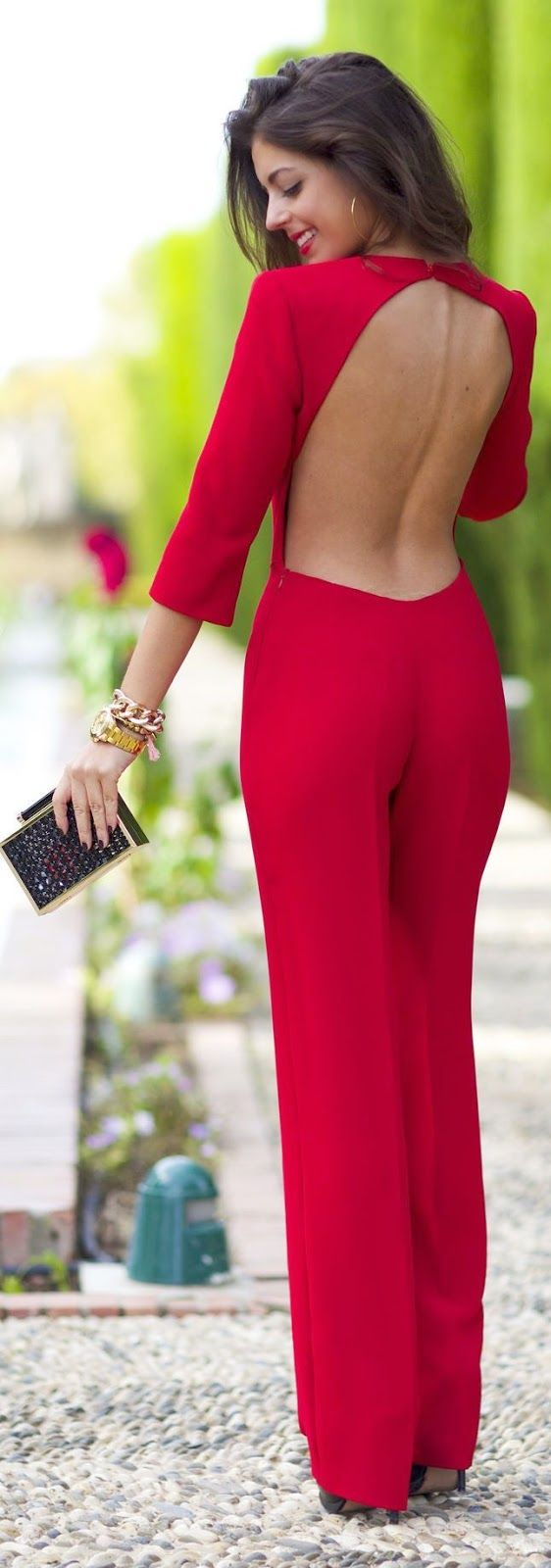 Luv to Look | Curating Fashion & Style: Red Backless Cocktail Jumpsuit