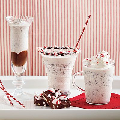 Peppermint Patty Frappes are a cool Christmas treat.