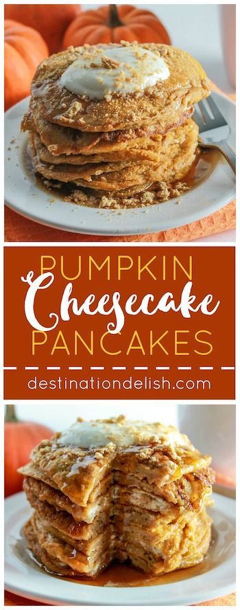 Pumpkin Cheesecake Pancakes | Destination Delish