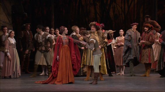 Giselle sees Albrecht kissing the hand of her fiancée Bathilde