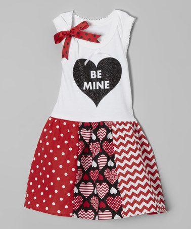 White & Black 'Be Mine' Libby Ann Dress - Toddler & Girls by Beary Basics #zulily #zulilyfinds