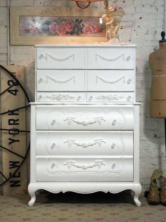 Painted Cottage Chic Shabby Pair of White by paintedcottages, $595.00