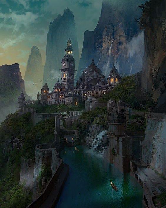 Art by Ast Ralf #fantasydaily #fantasy #fantasyart #mythical #adventure #dream #digitalart #concept Fantasy art landscapes Fantasy city Fantasy concept art
