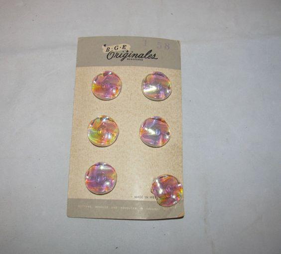 Vintage West Germany Large Iridescent Buttons by KansasKardsStudio, $5.00