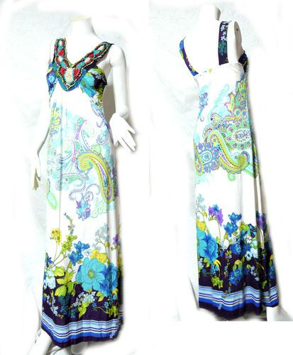 vtg retro HIPPIE BOHO Women floral Evening Summer Party gown long maxi Dress beads decoration style