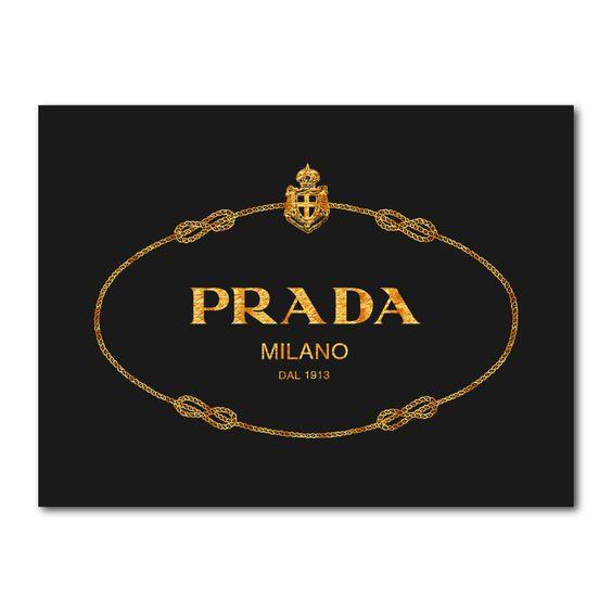 Prada Logo Gold Wall Art Canvas Print Gold Wall Art Canvas Gold Wall Art Wall Art Canvas Prints