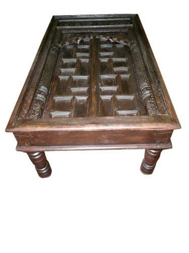 Antique old door coffee table carved india furniture by for Indian coffee table
