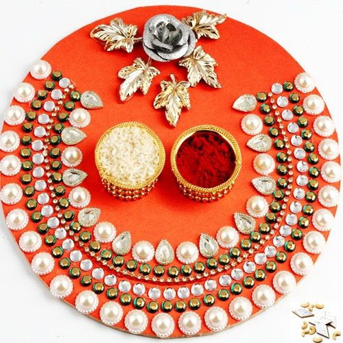 Orange pearl pooja thali online shopping for diwali for Aarti thali decoration with kundan