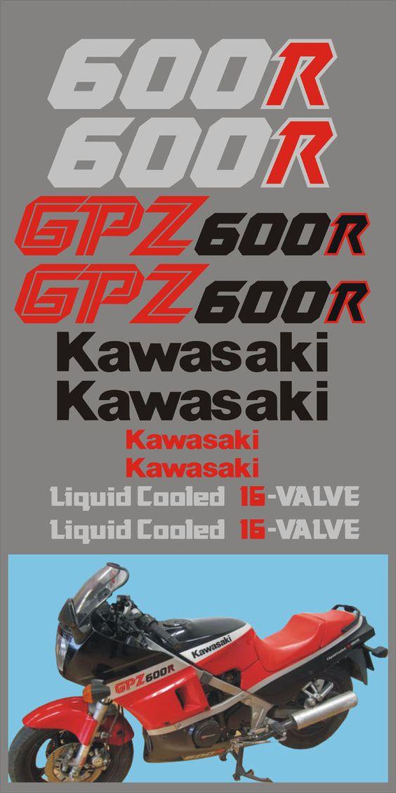 KIT Comp Kawasaki GPZ 600R 1986 Nera Rossa Adesivi Adhesives Stickers Decal | eBay