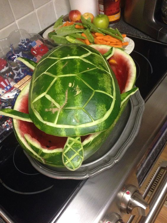 Watermelon carved into a Turtle! Festive with fruit salad for summer!