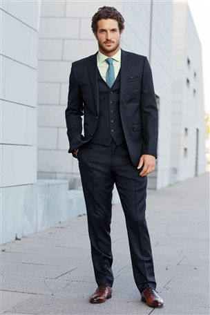 Signature Navy Slim Fit Suit, Waistcoat, Trousers, Green Shirt and Blue Patterned Tie