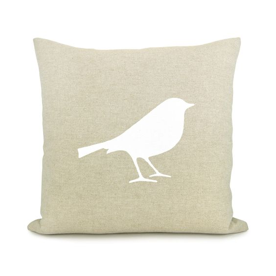 Bird pillow cover - White bird print on natural beige canvas pillow cover - 16x16 decorative throw pillow cover. $34.00, via Etsy.