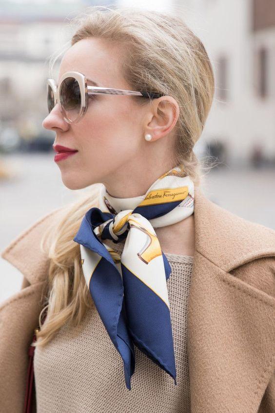 Dior Extase oversized beige sunglasses, Ferragamo silk scarf, how to tie a silk neckerchief, Estee Lauder Irrepressible red lipstick