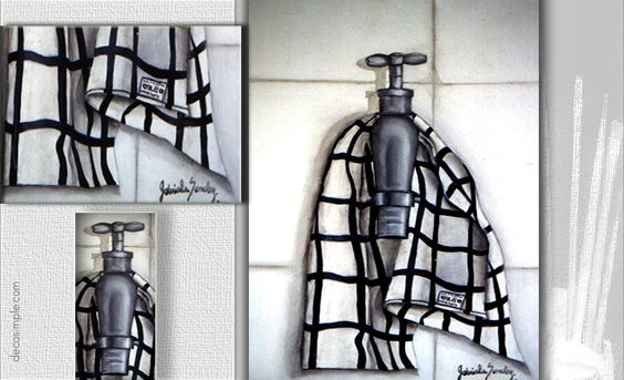 Faucet and dishcloth trompe-l'oeil